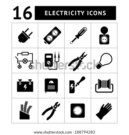Set icons of electricity isolated on white. Vector illustration - stock vector