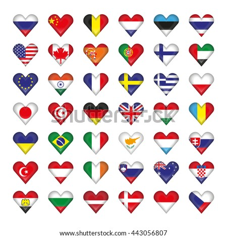 set icons of flags of different countries in the shape of hearts - stock vector