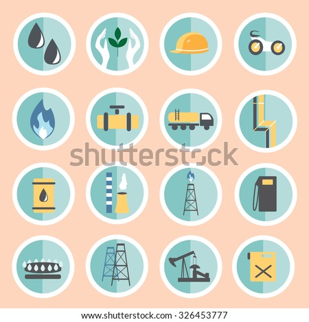 Set icons of industrial gas. Gas and oil industry set. Oil and gas - stock vector