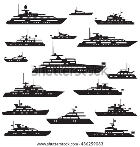 Set  icons of motor yachts.Yacht vector symbol silhouette. - stock vector