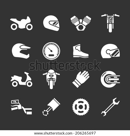 Set icons of motorcycle isolated on black. Vector illustration - stock vector