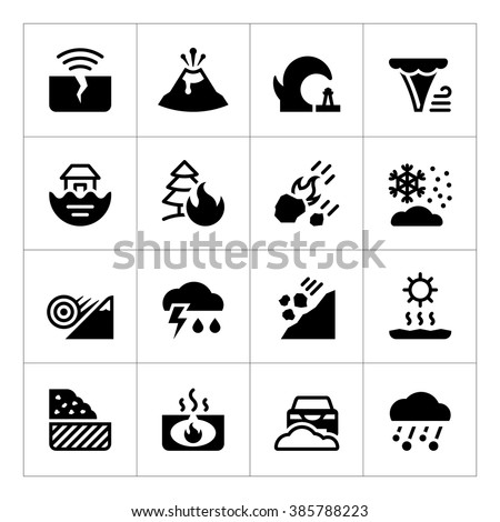 Set icons of natural disaster isolated on white. Vector illustration - stock vector