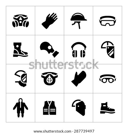 Set icons of personal protective equipment isolated on white. Vector illustration - stock vector