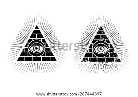 Set icons of pyramid and eye - stock vector