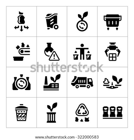 Set icons of recycling isolated on white. Vector illustration - stock vector