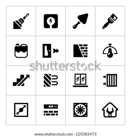 Set icons of repair and building isolated on white. Vector illustration - stock vector