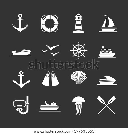Set icons of sea, beach and travel isolated on black. Vector illustration - stock vector