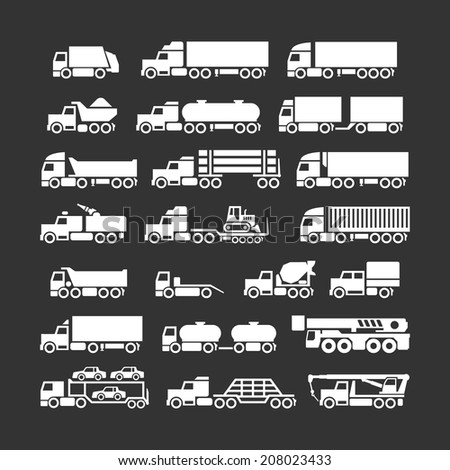 Set icons of trucks, trailers and vehicles isolated on black. Vector illustration - stock vector