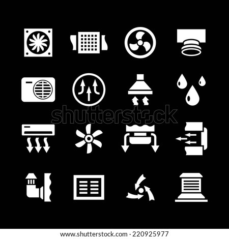 Set icons of ventilation and conditioning isolated on black. Vector illustration - stock vector