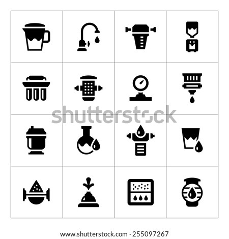 Set icons of water filters isolated on white. Vector illustration - stock vector