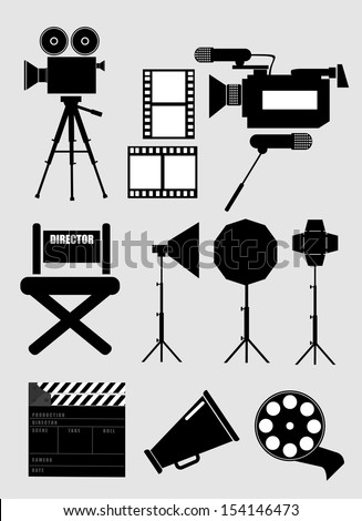set icons silhouette cinematography - stock vector