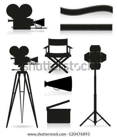 set icons silhouette cinematography cinema and movie vector illustration isolated on white background - stock vector