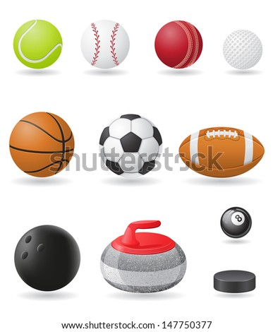 set icons sport balls vector illustration isolated on white background - stock vector