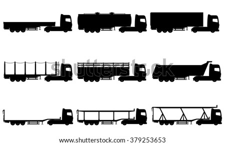 set icons trucks semi trailer black silhouette vector illustration isolated on white background - stock vector