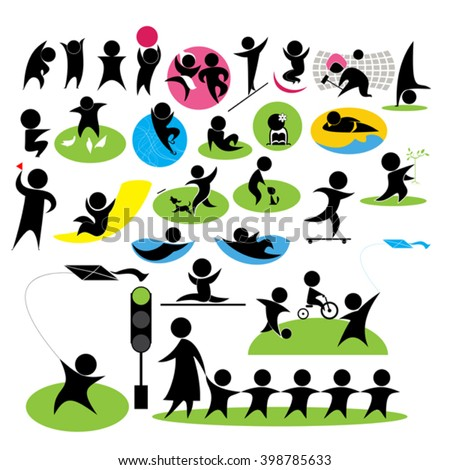 set icons with the image of children playing - stock vector