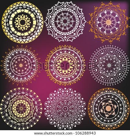 Set in a metallic color mandalas - stock vector