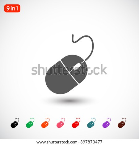 Set 9 in 1: gray Computer mouse icon, black Computer mouse icon, green Computer mouse icon, orange Computer mouse icon, pink Computer mouse icon, red Computer mouse icon, blue Computer mouse icon - stock vector