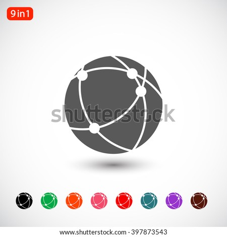 Set 9 in 1: gray connect globe icon, black connect globe icon, green connect globe icon, orange connect globe icon, pink connect globe icon, red connect globe icon, blue connect globe icon - stock vector