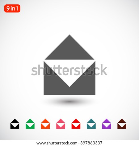 Set 9 in 1: gray Mail icon, black Mail icon, green Mail icon, orange Mail icon, pink Mail icon, red Mail icon, blue Mail icon, purple Mail icon, brown Mail icon - stock vector