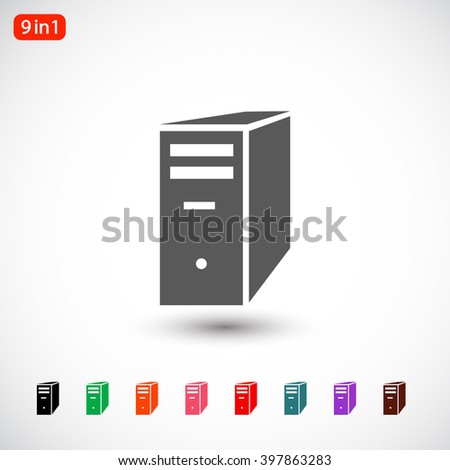 Set 9 in 1: gray server icon - stock vector