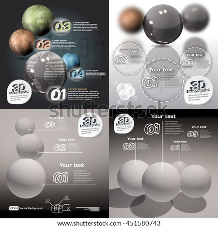 Set infographics 3d abstract with glossy balls with a picture of the planet - stock vector