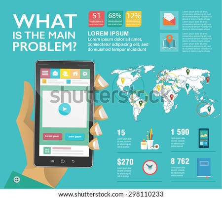 Set infographics in flat style. Concept for mobile apps. Vector illustrations. Use in website, corporate report, presentation, advertising, marketing. Easy to edit map. - stock vector