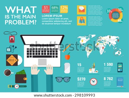 Set infographics in flat style. Vector illustrations about management, digital projects, clients brief, design and communication. Use in website, corporate report, presentation, advertising, marketing - stock vector