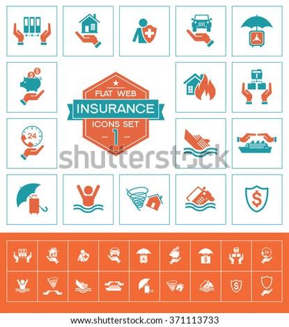 Set insurance icons. Trendy eco vector elements.  Modern flat design. - stock vector