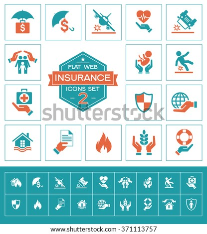 Set insurance icons. Trendy eco vector elements.  Modern flat design. - stock vector