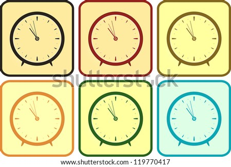 set isolated colorful clock in frame - stock vector