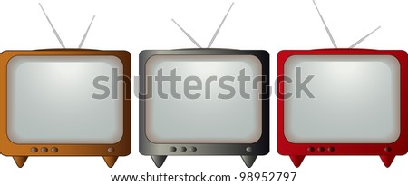 set isolated colorful retro TV - stock vector