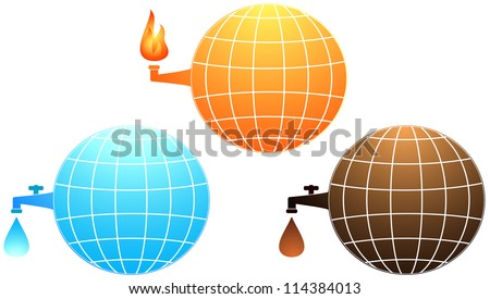 set isolated icon with planet resources - petroleum, water and gas fire - stock vector