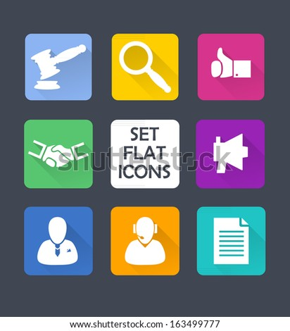 Set isolated icons for web. Flat design. - stock vector