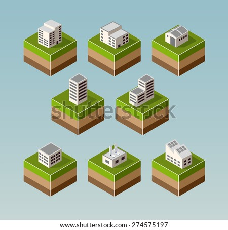 Set Isometric houses with elements of the landscape - stock vector
