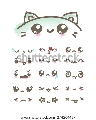 Set Kawaii emoticons - stock vector