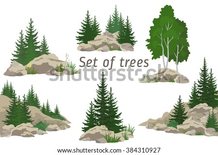 Set Landscapes, Isolated on White Background Coniferous and Deciduous Trees, Flowers and Grass on the Rocks. Vector - stock vector