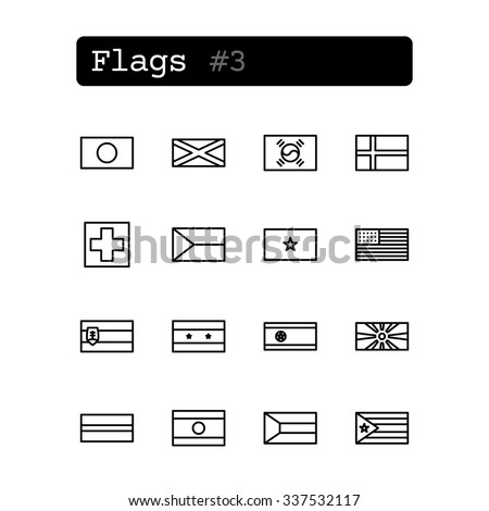 Set line thin icons. Vector. Country flags - stock vector