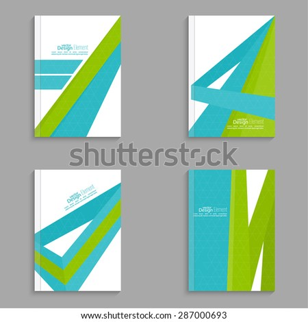 Set Magazine Cover with origami intersecting ribbons. For book, brochure, flyer, poster, booklet, leaflet, CD cover, postcard, business card, annual report. vector illustration. abstract background - stock vector