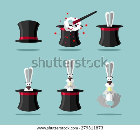 Set magician: wand, Topper and rabbit. Vector icons - stock vector
