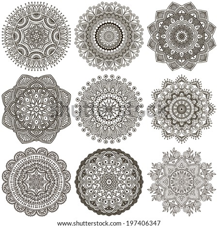 Set Mandalas. Round Ornament Pattern - stock vector