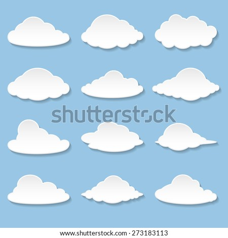 Set Messages in the form of Clouds. Illustration Vector.  - stock vector