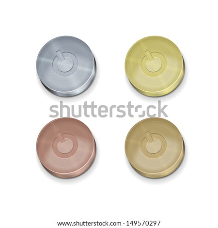 set metal buttons (silver, gold, copper, bronze) on / off switch for the interface - stock vector