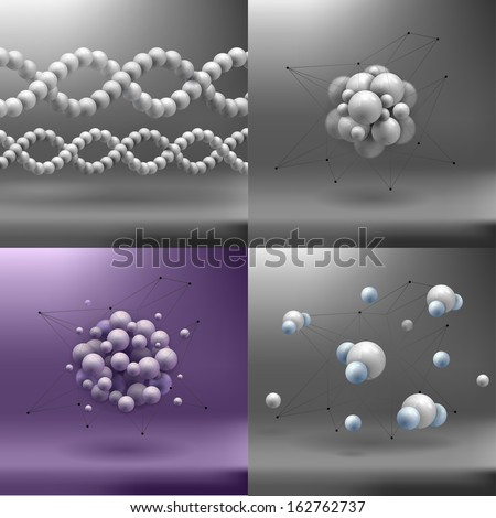 set molecules spheres abstract background . molecular structure  - stock vector