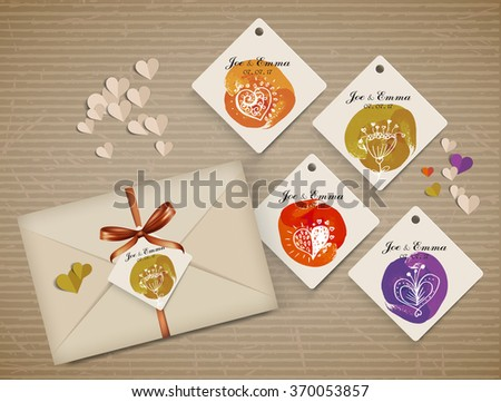 set name tag with cute elements, greeting and wishes for holidays. Element for  scrapbooking - stock vector