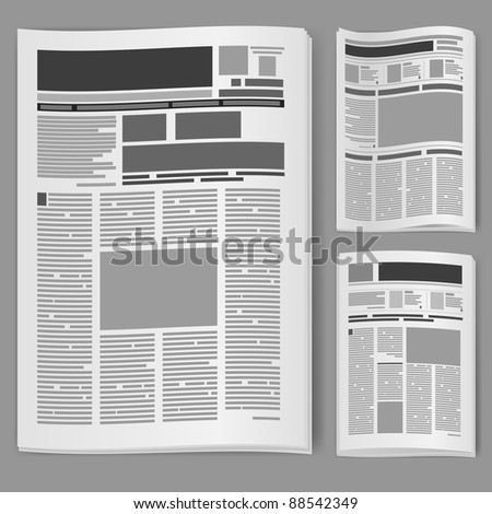 Set number two newspaper. Illustration on white background. - stock vector