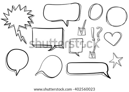 Set od 3d hand drawn icons: check mark, star, heart, speech bubbles. VECTOR. Outline drawings set  - stock vector