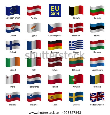 Set od European Union country flags - stock vector