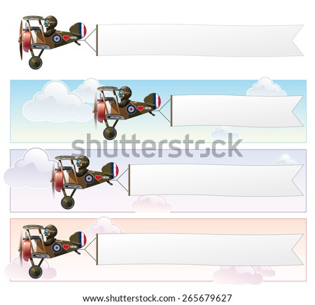 Set of a Vector cartoon illustrations of the British WWI fighter biplane Vickers flying with an aerial advertising banner.  The banner is in three sizes  - stock vector