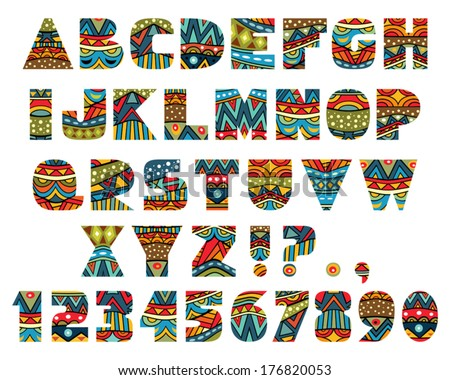 Set of ABC letters with abstract ethnic African patterns. Rich ornate alphabet in African culture style. Fancy multicolored capital letters, schematic shapes. Vector is EPS8, all elements are grouped. - stock vector