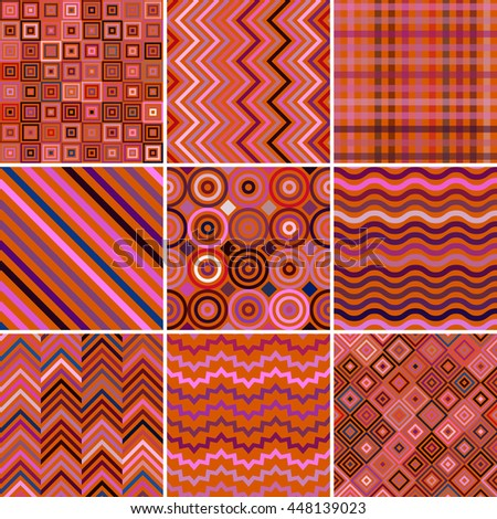 Set of abstract background, 9 geometric pattern, vector illustration. Texture can be used for printing onto fabric and paper. Red, pink, brown, orange colors.  - stock vector